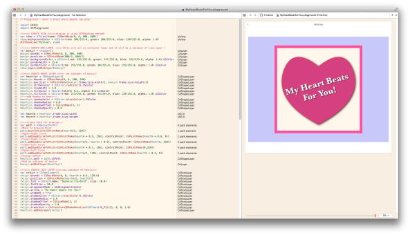 Screenshot of Apple Swift Playground in Action used for rapid prototyping testing code for iOS / OSX - Examples and Tutorials