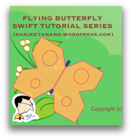 Flying Butterfly - Swift Tutorials Series Part 4 of 7. Realistic Animation of Wings Layers - Example Animation Delegate in iOS - Screenshot